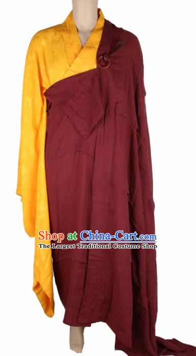 Chinese Traditional Buddhist Monk Costumes Buddhism Monks Wine Red Cassock for Men