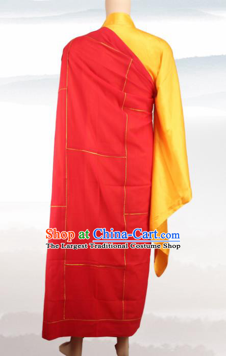 Chinese Traditional Buddhist Monk Costumes Buddhism Dharma Assembly Monks Red Cassock for Men