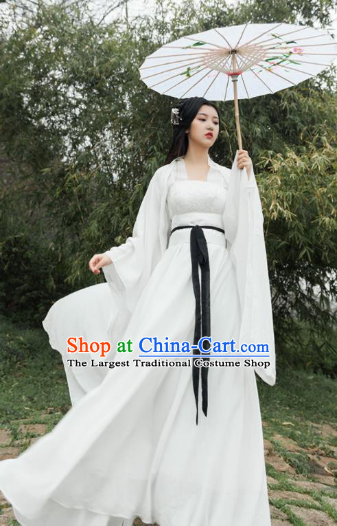 Traditional Chinese Ancient Drama Fairy Princess Costumes Tang Dynasty Palace Lady White Hanfu Dress for Women