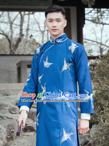 Traditional Chinese Ancient Nobility Childe Costumes Republic China Period Drama Embroidered Gown for Men