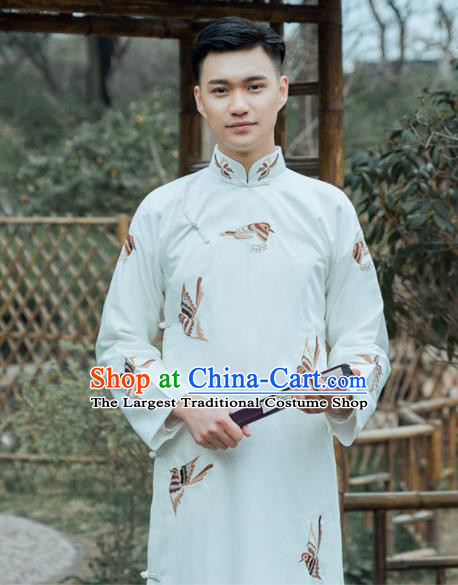 Traditional Chinese Republic Period Nobility Childe Costumes Ancient Drama Embroidered White Gown for Men