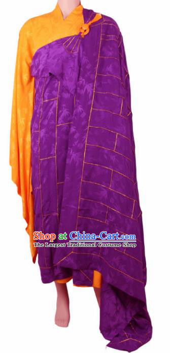 Chinese Traditional Buddhist Purple Cassock Buddhism Dharma Assembly Monks Costumes for Men