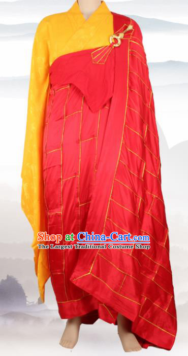 Chinese Traditional Buddhist Red Cassock Buddhism Dharma Assembly Monks Costumes for Men