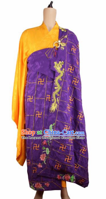 Chinese Traditional Buddhist Embroidered Lotus Dragon Purple Cassock Buddhism Dharma Assembly Monks Costumes for Men