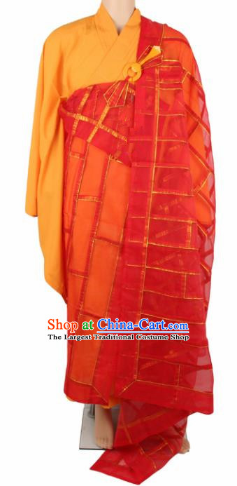 Chinese Traditional Buddhist Red Organza Cassock Buddhism Dharma Assembly Monks Costumes for Men