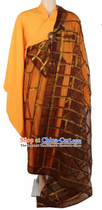 Chinese Traditional Buddhist Brown Organza Cassock Buddhism Dharma Assembly Monks Costumes for Men