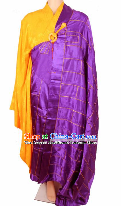 Chinese Traditional Buddhist Purple Silk Cassock Buddhism Dharma Assembly Monks Costumes for Men