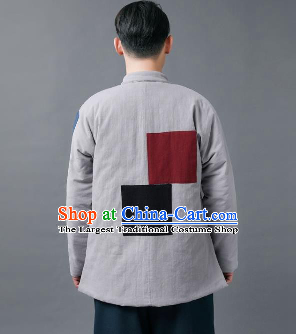 Chinese Traditional Tang Suits National Plated Buttons Shirts Mandarin Cotton Padded Jacket for Men