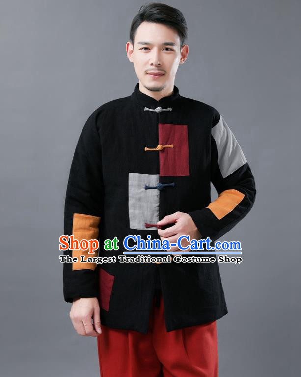 Chinese Traditional Tang Suits National Shirts Mandarin Black Cotton Padded Jacket for Men