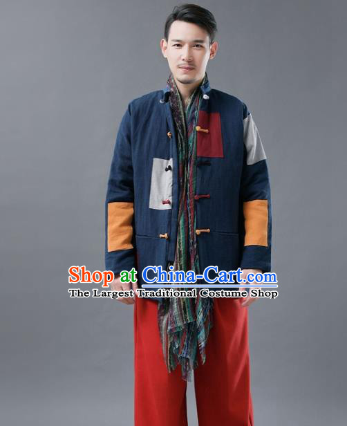 Chinese Traditional Tang Suits National Shirts Mandarin Navy Cotton Padded Jacket for Men