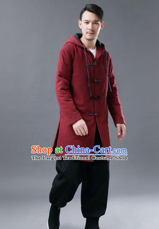 Chinese Traditional Tang Suits National Shirts Mandarin Red Cotton Padded Coat for Men