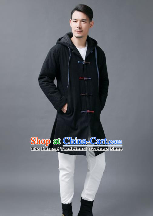 Chinese Traditional Costume Tang Suits National Shirts Mandarin Black Cotton Padded Coat for Men