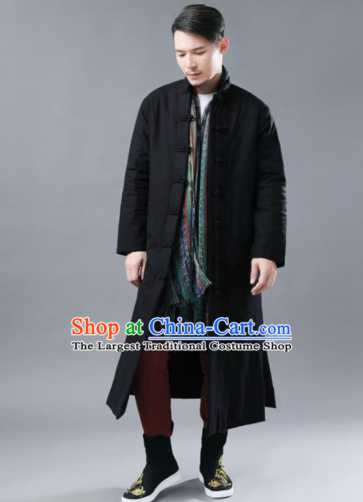 Chinese Traditional Costume Tang Suits National Mandarin Black Cotton Padded Long Coat for Men