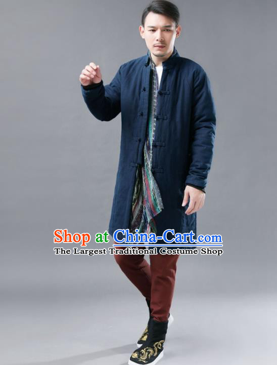Chinese Traditional Costume Tang Suits Navy Cotton Padded Coat National Navy Mandarin Shirt for Men