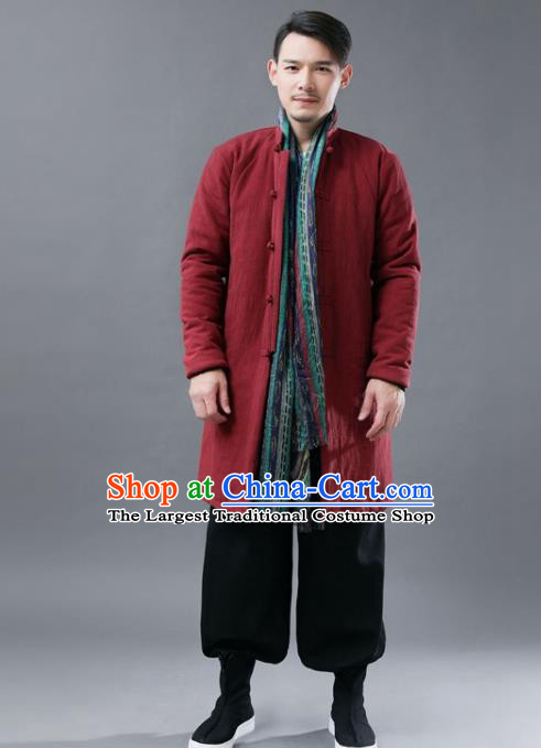 Chinese Traditional Costume Tang Suits Red Cotton Padded Coat National Navy Mandarin Shirt for Men