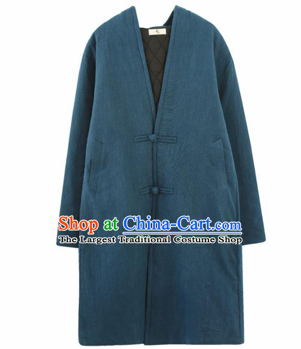 Chinese Traditional Costume Tang Suits Navy Coat National Mandarin Shirt for Men