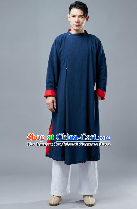Chinese Traditional Costume Tang Suits Navy Gown National Mandarin Robe for Men