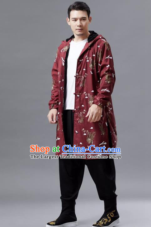 Chinese Traditional Costume Tang Suits Outer Garment National Mandarin Red Coat for Men
