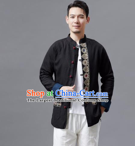 Chinese Traditional Costume Tang Suits Black Jacket National Mandarin Shirts for Men