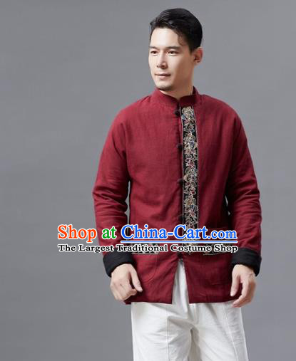 Chinese Traditional Costume Tang Suits Red Jacket National Mandarin Shirts for Men