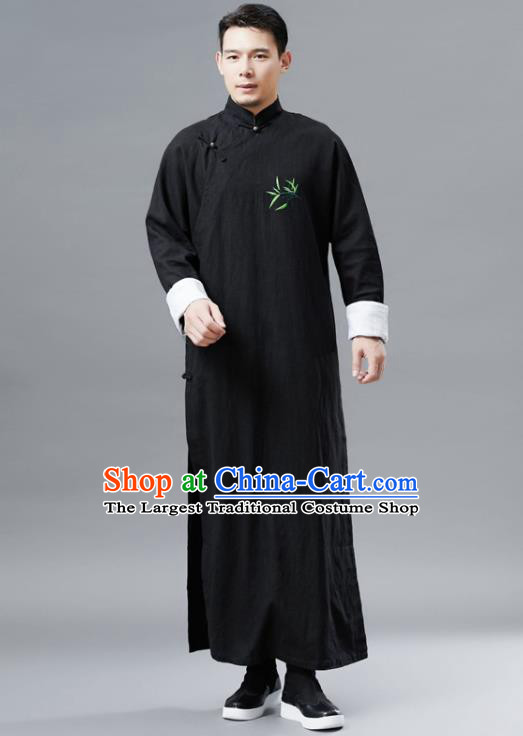 Chinese Traditional Costume Tang Suits Black Robe National Mandarin Gown for Men