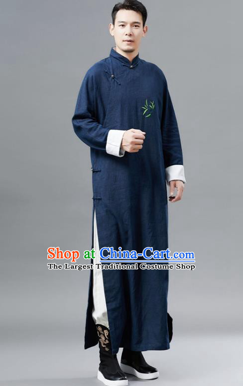 Chinese Traditional Costume Tang Suits Navy Robe National Mandarin Gown for Men