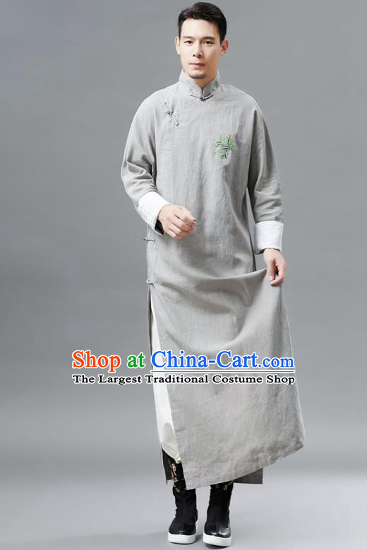 Chinese Traditional Costume Tang Suits Grey Robe National Mandarin Gown for Men