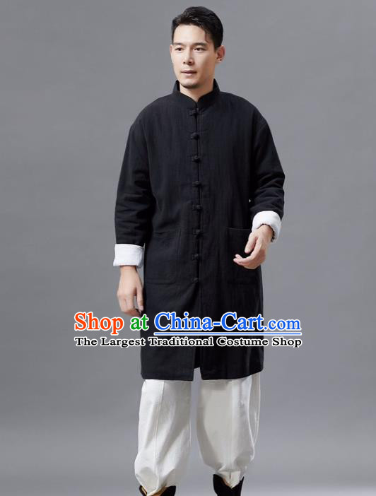 Chinese Traditional Costume Tang Suit Black Shirts National Mandarin Gown for Men
