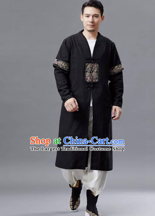Chinese Traditional Costume Tang Suit Black Dust Coat National Mandarin Gown for Men