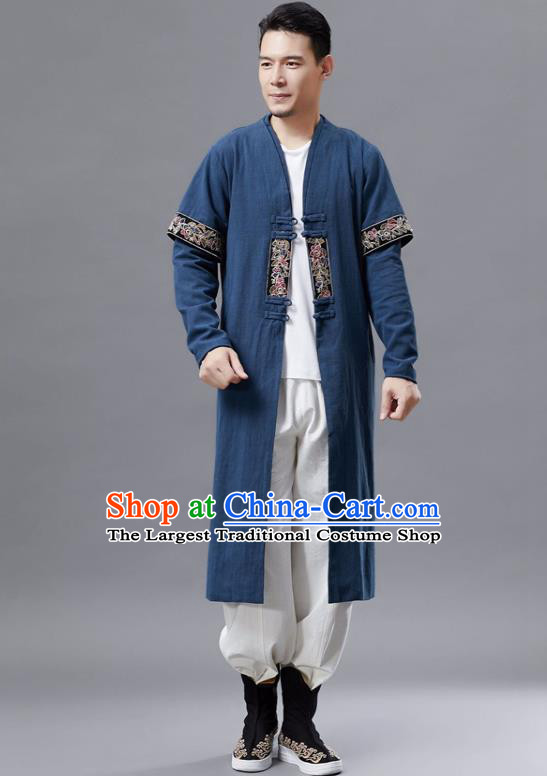 Chinese Traditional Costume Tang Suit Navy Dust Coat National Mandarin Gown for Men