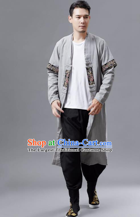 Chinese Traditional Costume Tang Suit Grey Dust Coat National Mandarin Gown for Men