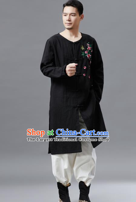 Chinese Traditional Costume Tang Suit Black Coat National Mandarin Gown Outer Garment for Men