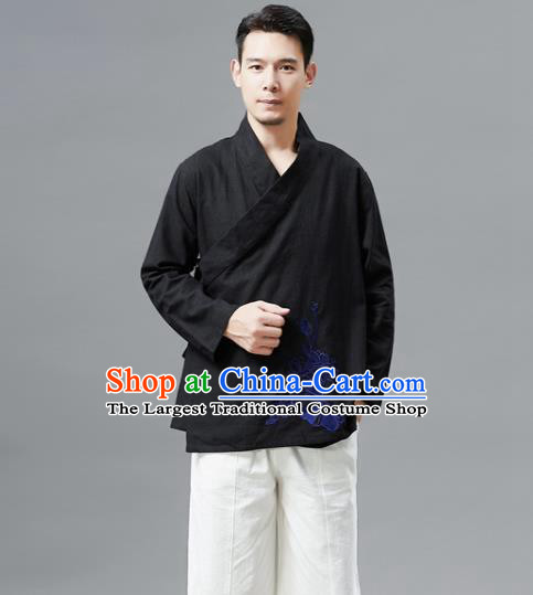Chinese Traditional Costume Tang Suit Black Shirts National Mandarin Outer Garment for Men