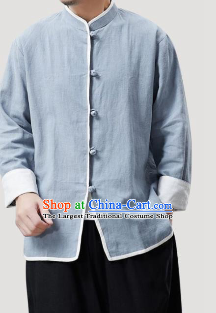 Chinese Traditional Costume Tang Suit Blue Shirts National Mandarin Outer Garment for Men