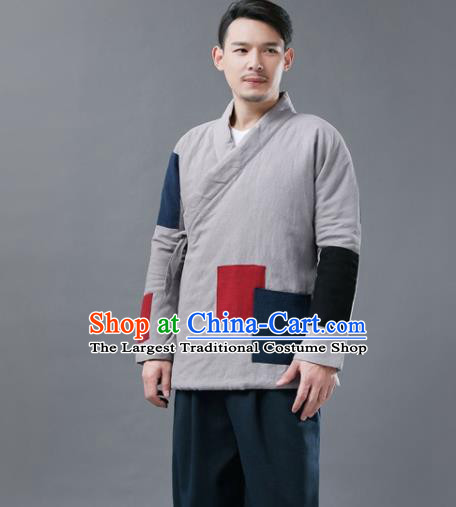 Chinese Traditional Costume Tang Suits Cotton Padded Jacket National Grey Mandarin Shirt for Men
