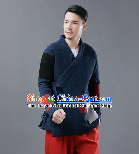Chinese Traditional Costume Tang Suits Cotton Padded Jacket National Navy Mandarin Shirt for Men