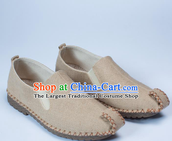 Chinese Traditional Martial Arts Shoes Kung Fu Shoes Beige Linen Monk Shoes for Men