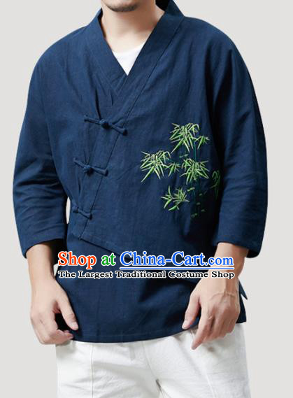 Chinese Traditional Costume Tang Suit Embroidered Bamboo Navy Shirts National Mandarin Outer Garment for Men