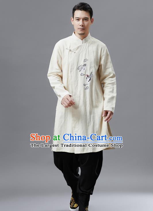 Chinese Traditional Costume Tang Suit White Gown National Mandarin Outer Garment for Men