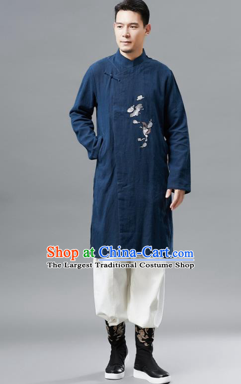 Chinese Traditional Costume Tang Suit Navy Gown National Mandarin Outer Garment for Men