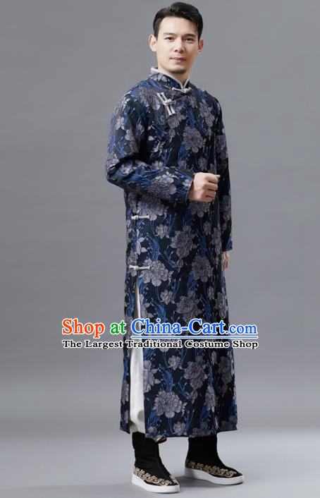 Chinese Traditional Costume Tang Suit Navy Gown National Mandarin Robe for Men