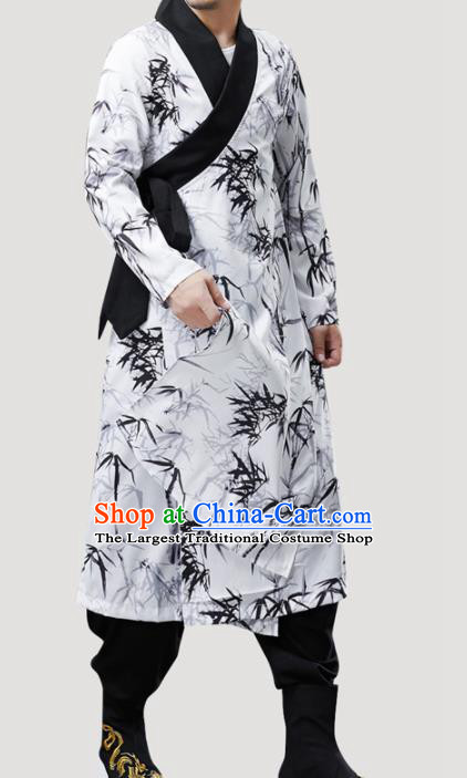 Chinese Traditional Costume Tang Suit Gown National Printing Bamboo White Mandarin Robe for Men