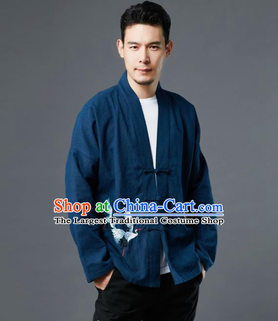 Chinese Traditional Costume Tang Suit Embroidered Cranes Navy Shirts National Mandarin Jacket for Men