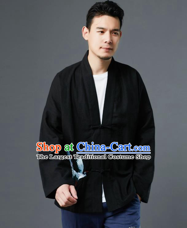 Chinese Traditional Costume Tang Suit Embroidered Cranes Black Shirts National Mandarin Jacket for Men