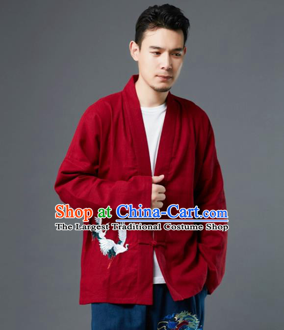 Chinese Traditional Costume Tang Suit Embroidered Cranes Red Shirts National Mandarin Jacket for Men
