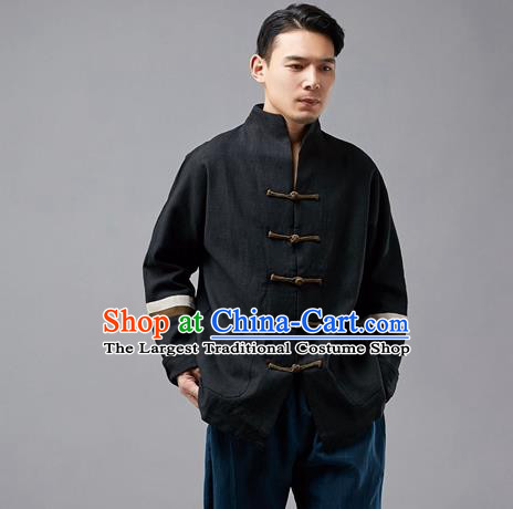 Chinese Traditional Costume Tang Suit Black Overcoat National Mandarin Jacket for Men