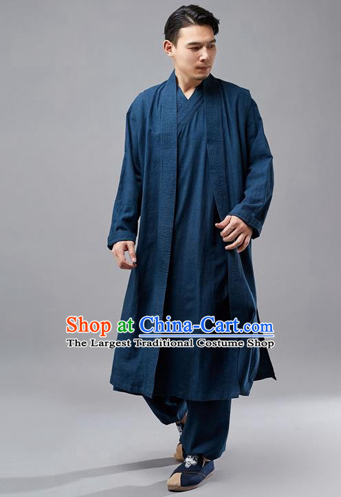 Chinese Traditional Costume Tang Suit Navy Robe National Mandarin Jacket for Men