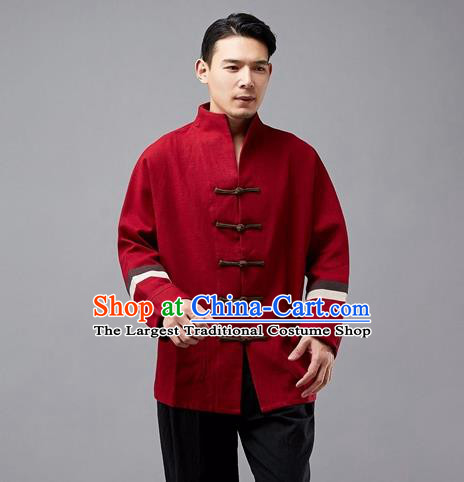 Chinese Traditional Costume Tang Suit Red Overcoat National Mandarin Jacket for Men