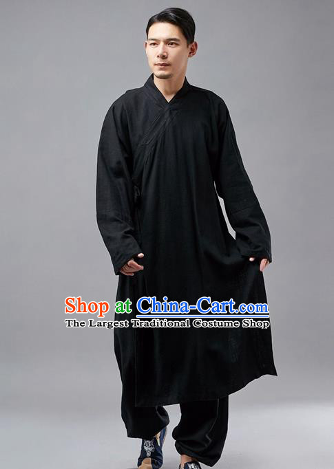 Chinese Traditional Costume Tang Suit Martial Arts Black Robe National Mandarin Gown for Men