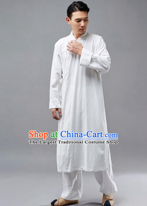 Chinese Traditional Costume Tang Suit Martial Arts White Robe National Mandarin Gown for Men
